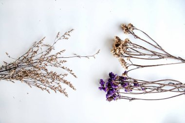 The bouquet of dried flower put on white background