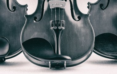 The abstract art design background of half front side violin put on background,show detail and part of violin