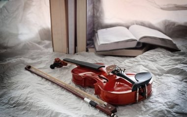 The abstract art design background of classic violin and bow put in front blurred book stacked,on background,blurry light around