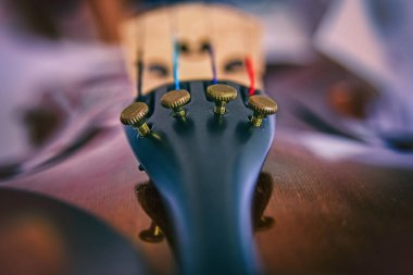 In selective focus of little screws.it is Violin Fine Tuner,accessoriy of stringed instrument,blurry light around