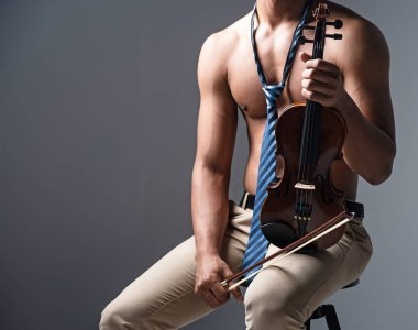 The wooden violin and bow was holding by human hands,show front side of instrument,prepare for playins,blurry light around
