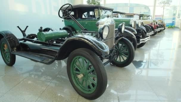 Collection of vintage cars and trucks. The first historical cars. Exhibition of retro cars.