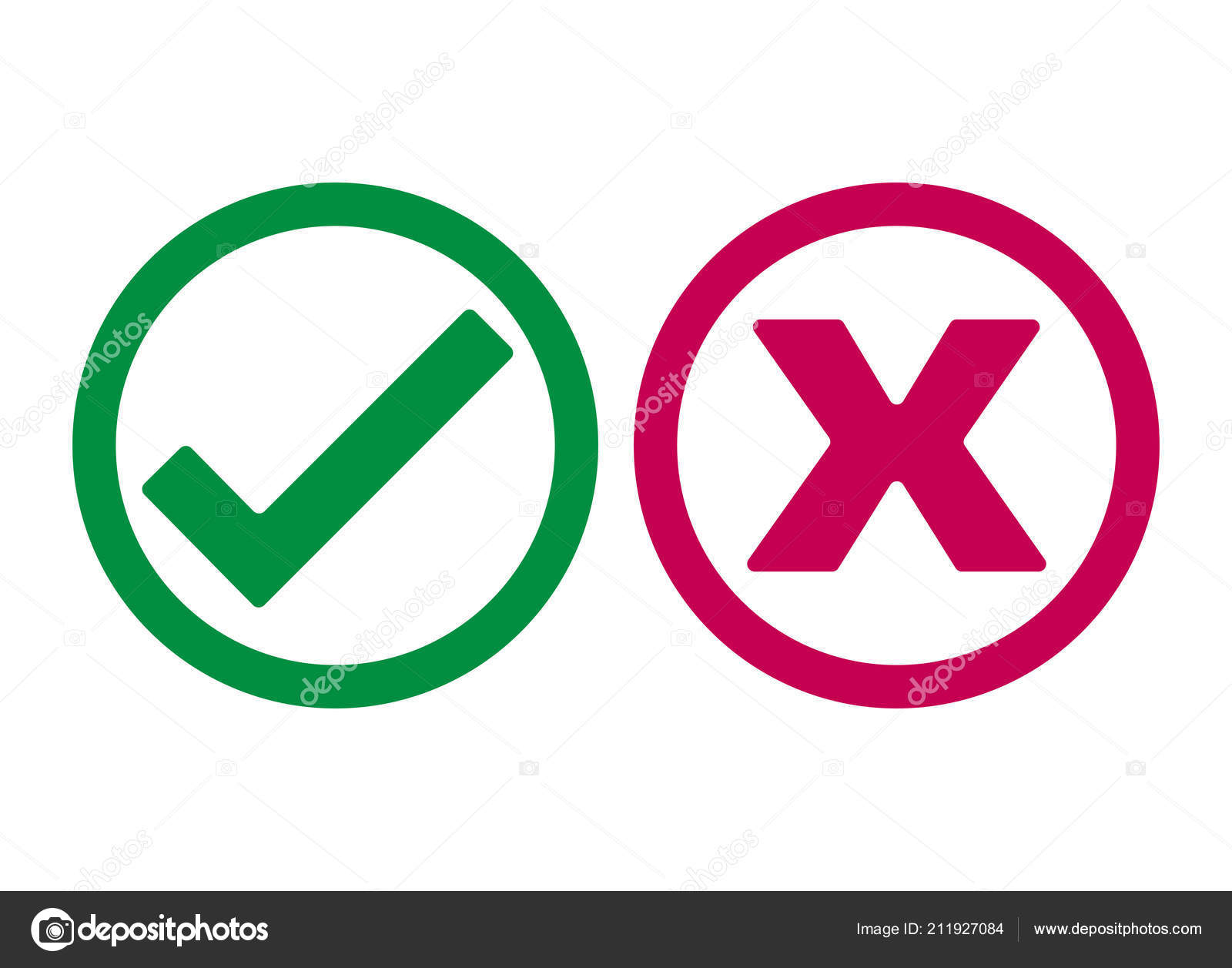 Checkmark and X or Confirm and Deny Icon — Vector by [emailprotected]