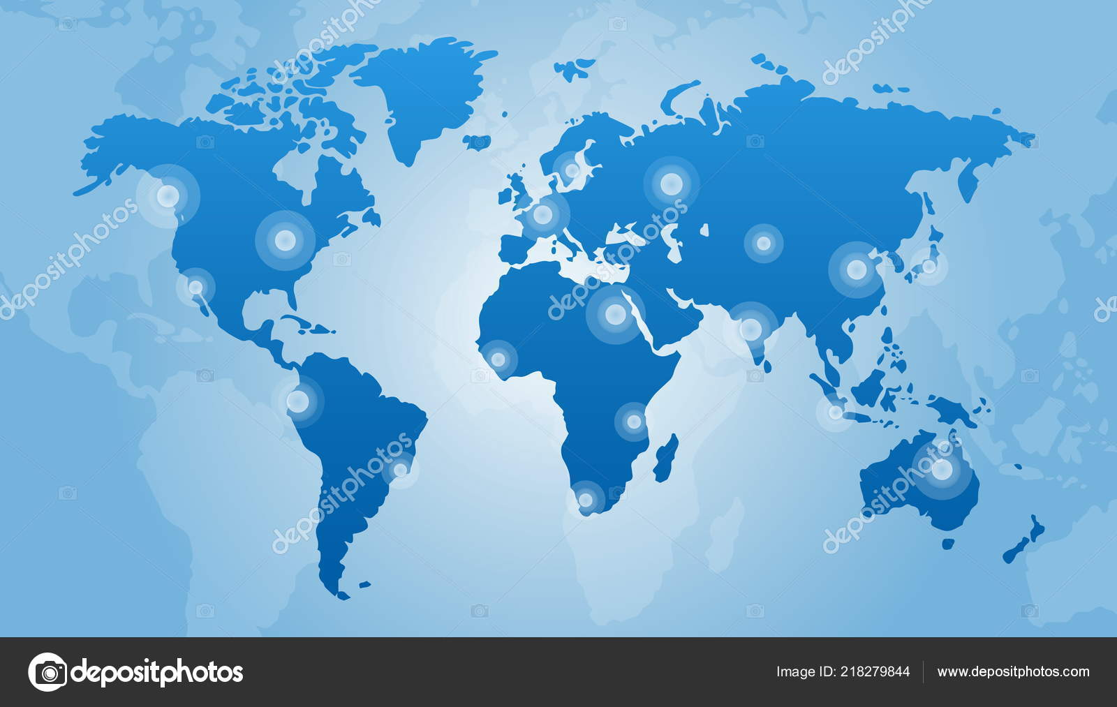 Blue Corporate World Map Vector Illustration Design Stock Vector
