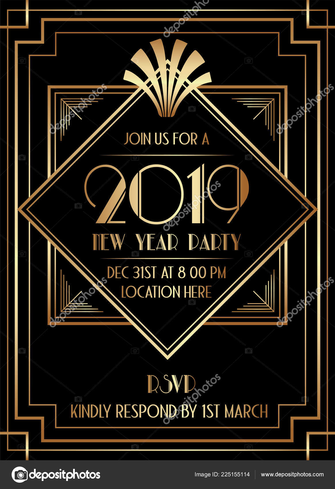 2019 new year party art deco style invitation design stock vector