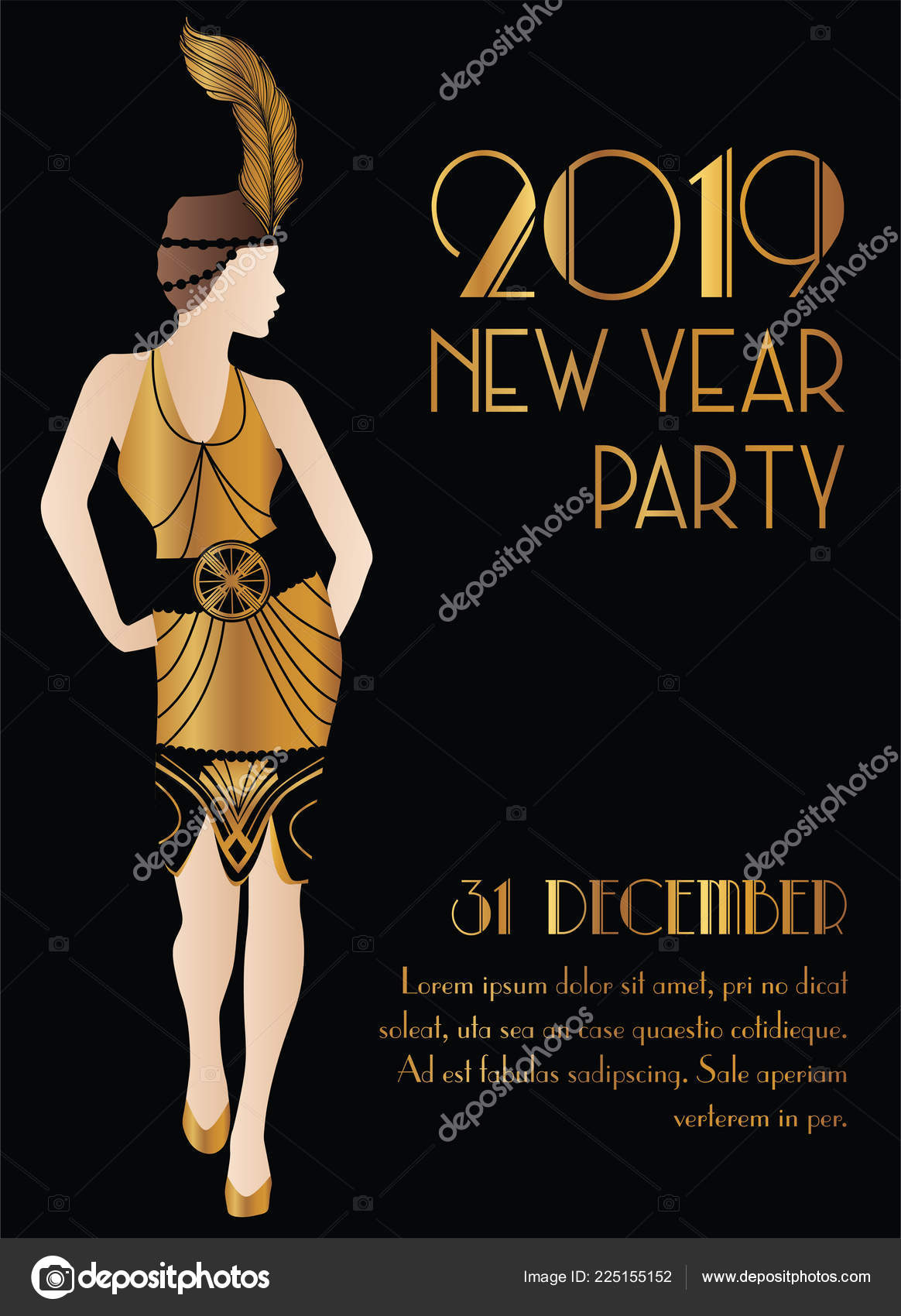 2019 New Year Gatsby Art Deco Style Party Invitation Design Stock