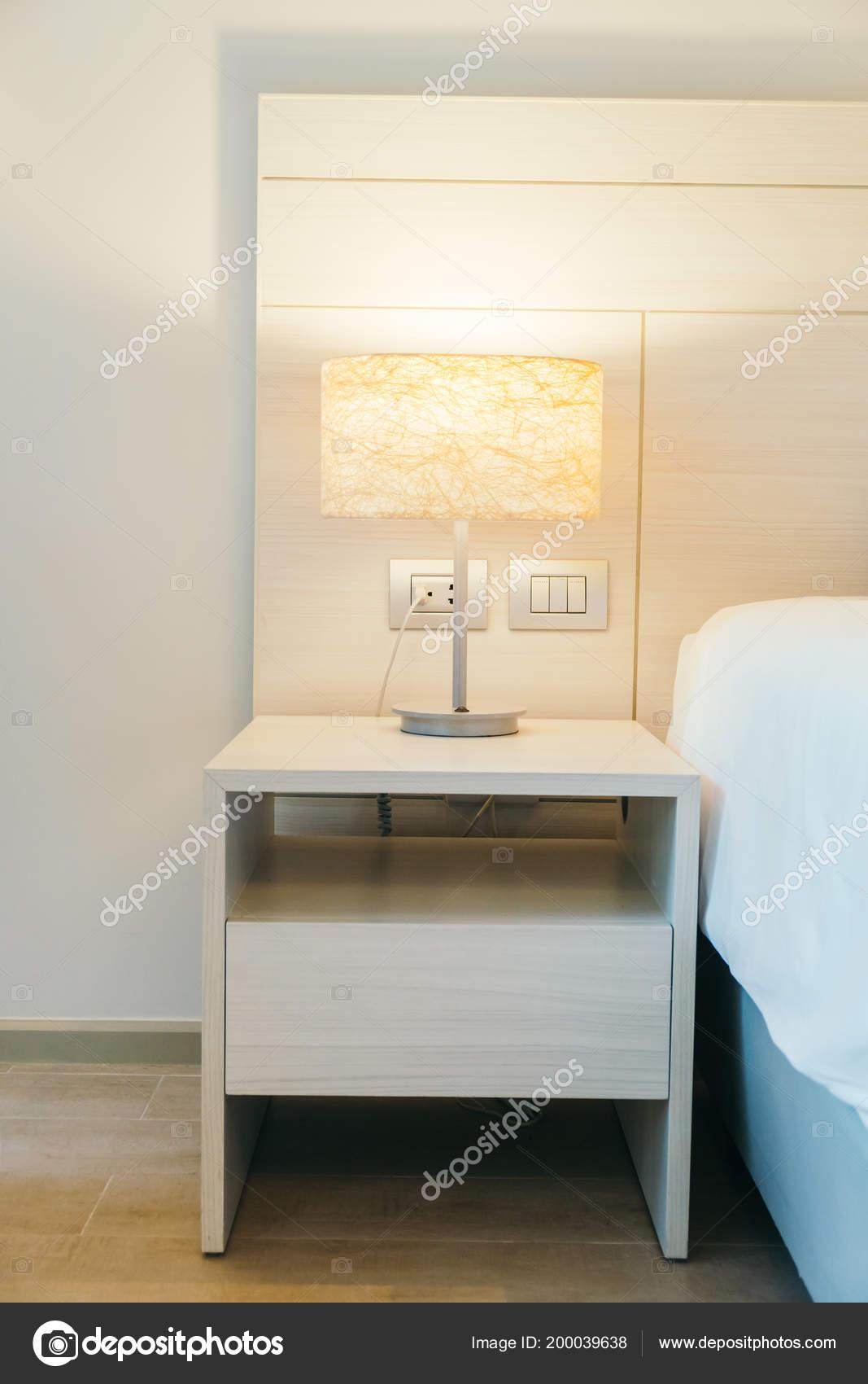 Leuchtlampe Dekoration Schlafzimmer Interieur — Stockfoto ...