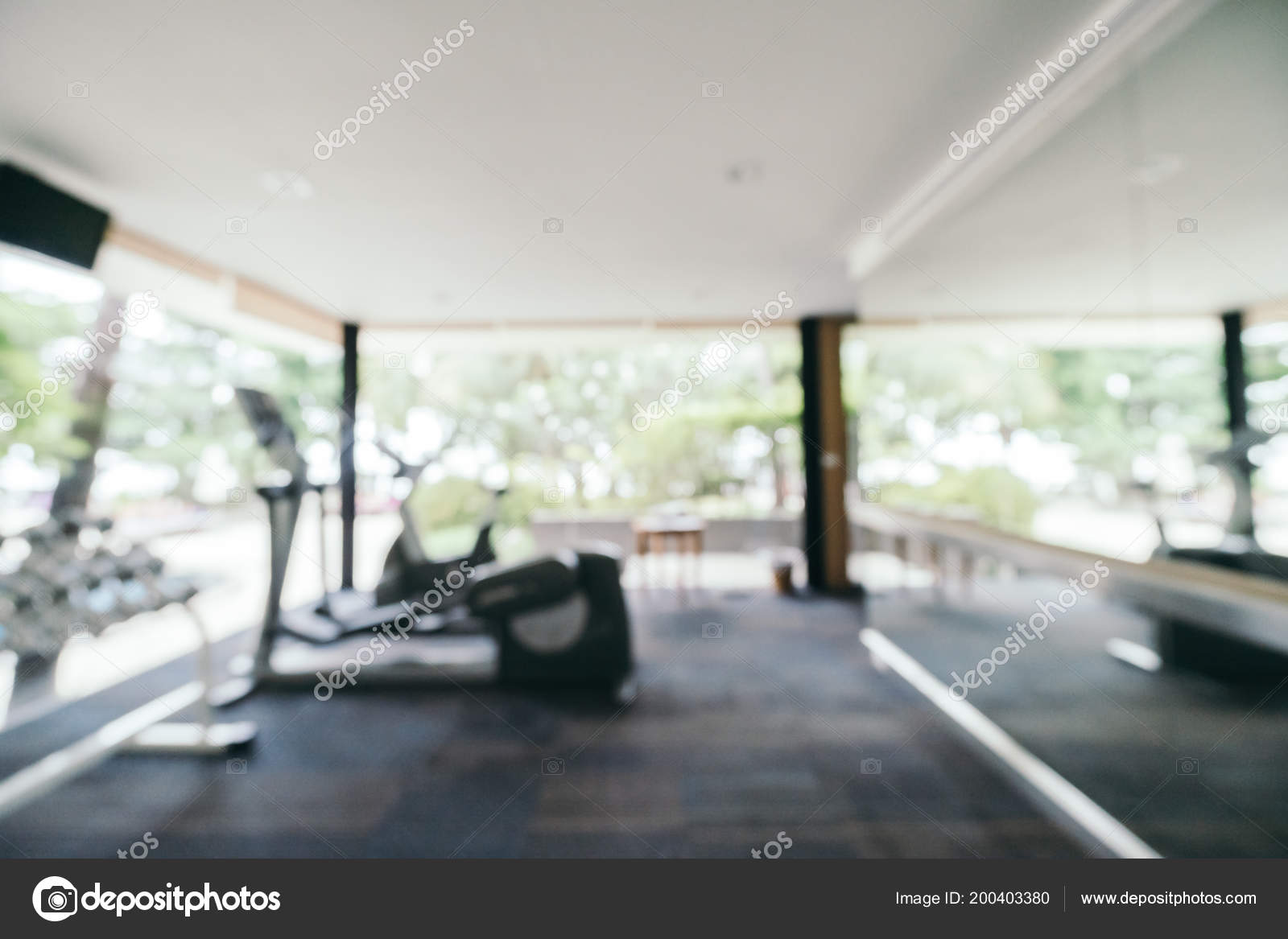 Abstract blur fitness gym room interior background abstract blur
