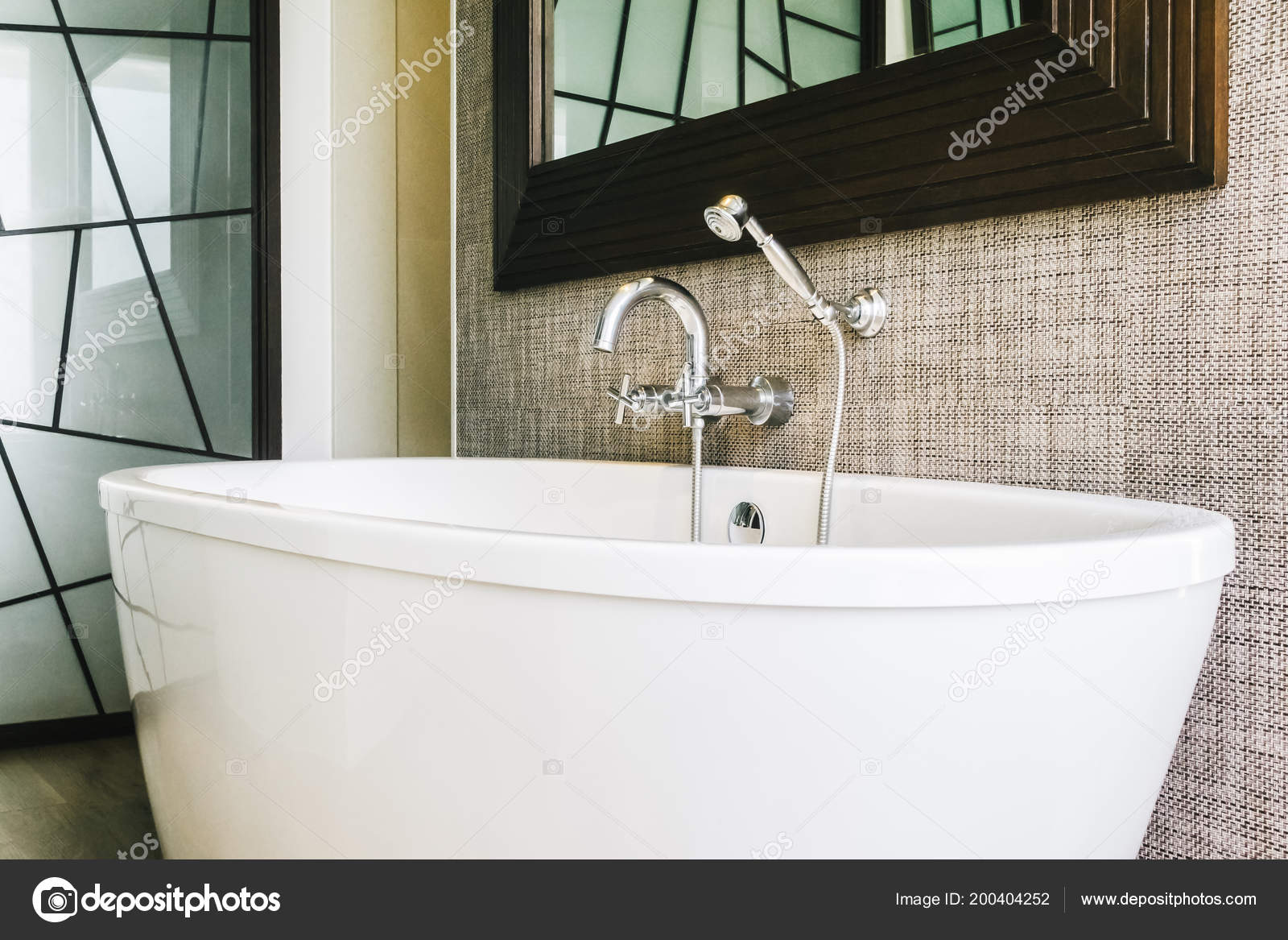 Beautiful Luxury White Bathtub Decoration Bathroom Interior — Stock ...