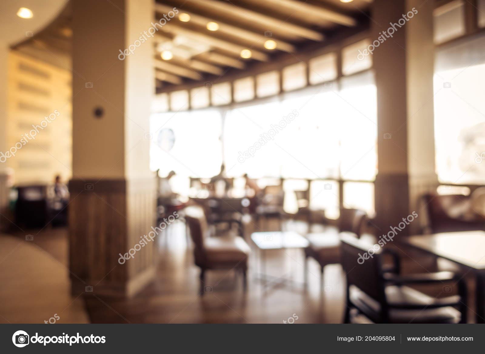 Abstract Blur Defocused Restaurant Coffee Shop Interior Background