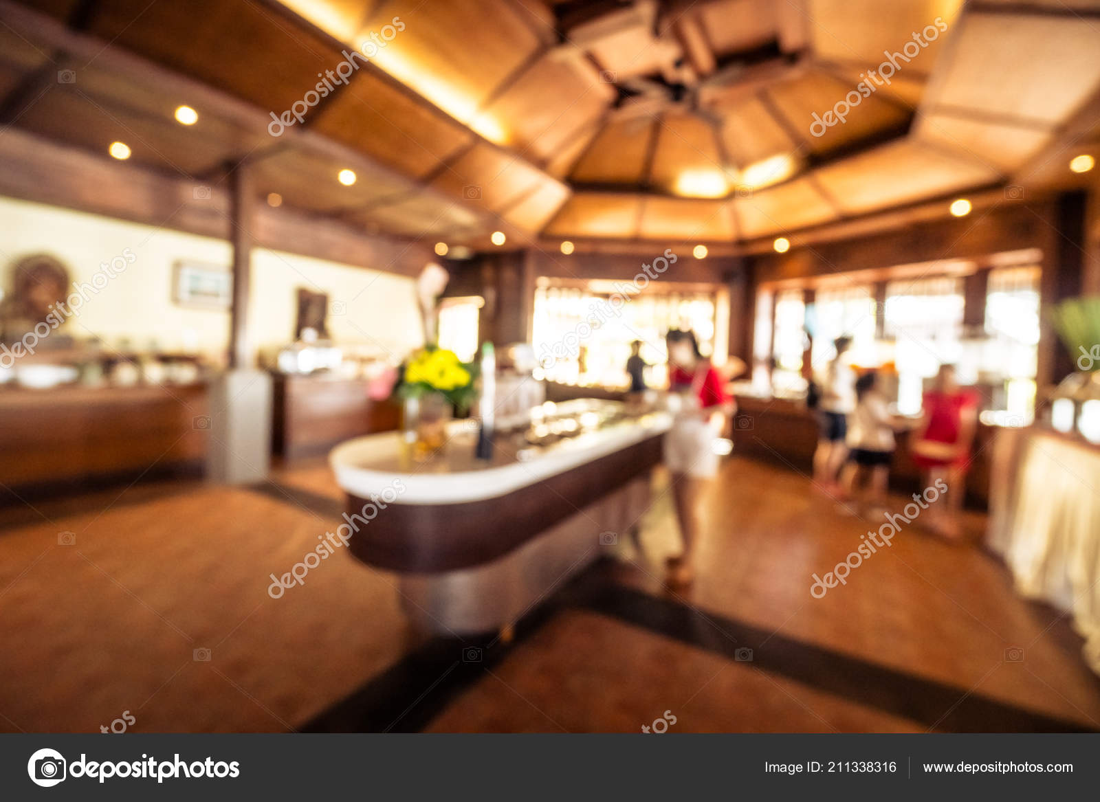 Abstract Blur Restaurant Coffee Shop Cafe Interior Background Stock Photo C Mrsiraphol 211338316