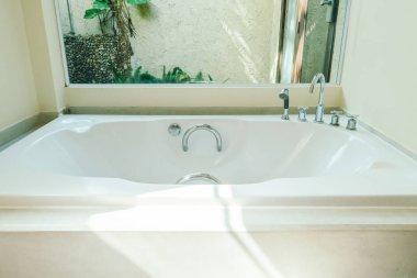Beautiful bathtub decoration in bathroom interior
