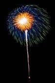 Krásný barevný ohňostroj na Černé obloze v noci na oslavu