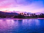 Fotografia Vista aerea di bella spiaggia tropicale e mare con palme e altro albero in koh samui island Thailandia a tempo di tramonto per vacanze e viaggi