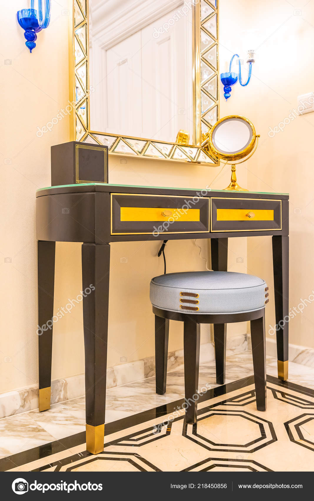 Beautiful Luxury Dressing Table Big Mirror Chair Decoration Interior ...