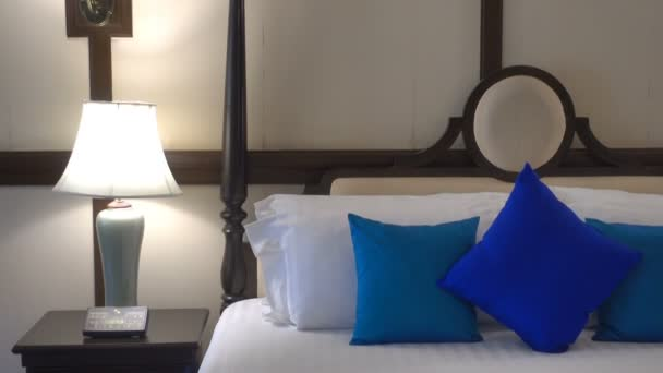 footage of hotel bedroom luxury interior