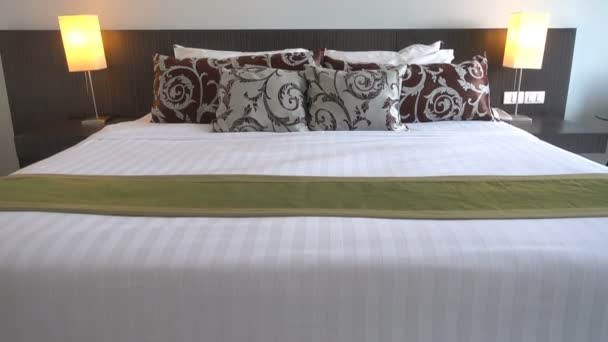 footage of hotel bedroom luxury interior