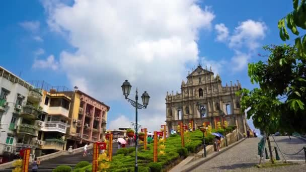Beautiful footage of ruins of St Paul in Macau, China