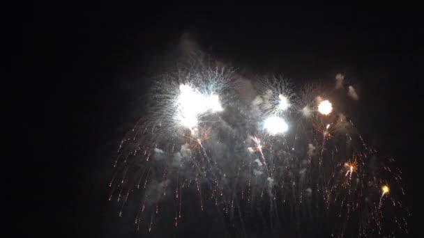 Nahaufnahmen von Feuerwerk, das am Nachthimmel explodiert