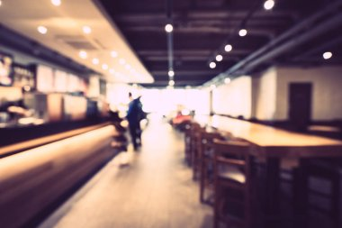 Abstract blur and defocused restaurant and coffee shop cafe inte