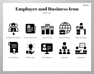 Employee and business vector illustration in solid color design icon