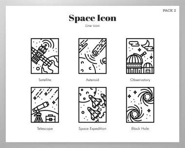 Space frame vector illustration in line stroke design icon