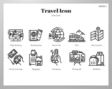 Icons of travel in line stroke design icon