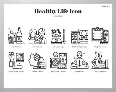 Healthy life vector illustration in line stroke design icon