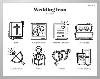 Wedding vector illustration in line stroke design icon