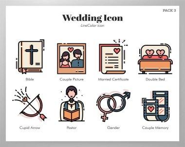 Wedding vector illustration in line color design icon