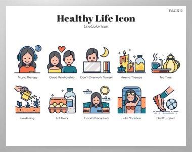 Healthy life vector illustration in line color design icon
