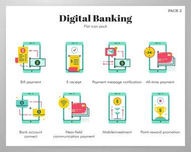 Digital banking vector illustration in flat color design icon