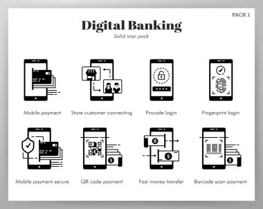 Digital banking vector illustration in solid color design icon