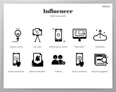 Influencer vector illustration in solid color design icon