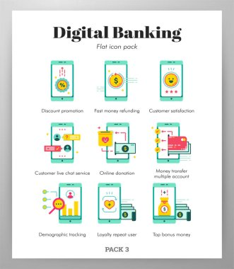Digital banking vector illustration in flat color design icon