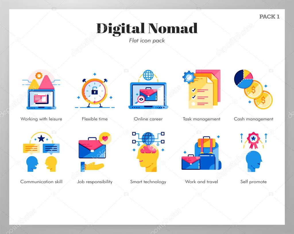 Digital nomad icons flat pack