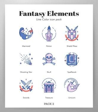Fantasy vector illustration in line color design icon