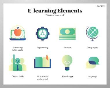 E-Learning vector illustration in gradient design icon