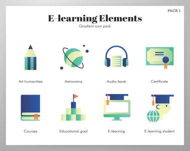 E-Learning vector illustration in gradient design icon