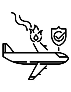 Black and white vector illustration of a fire fighter icon