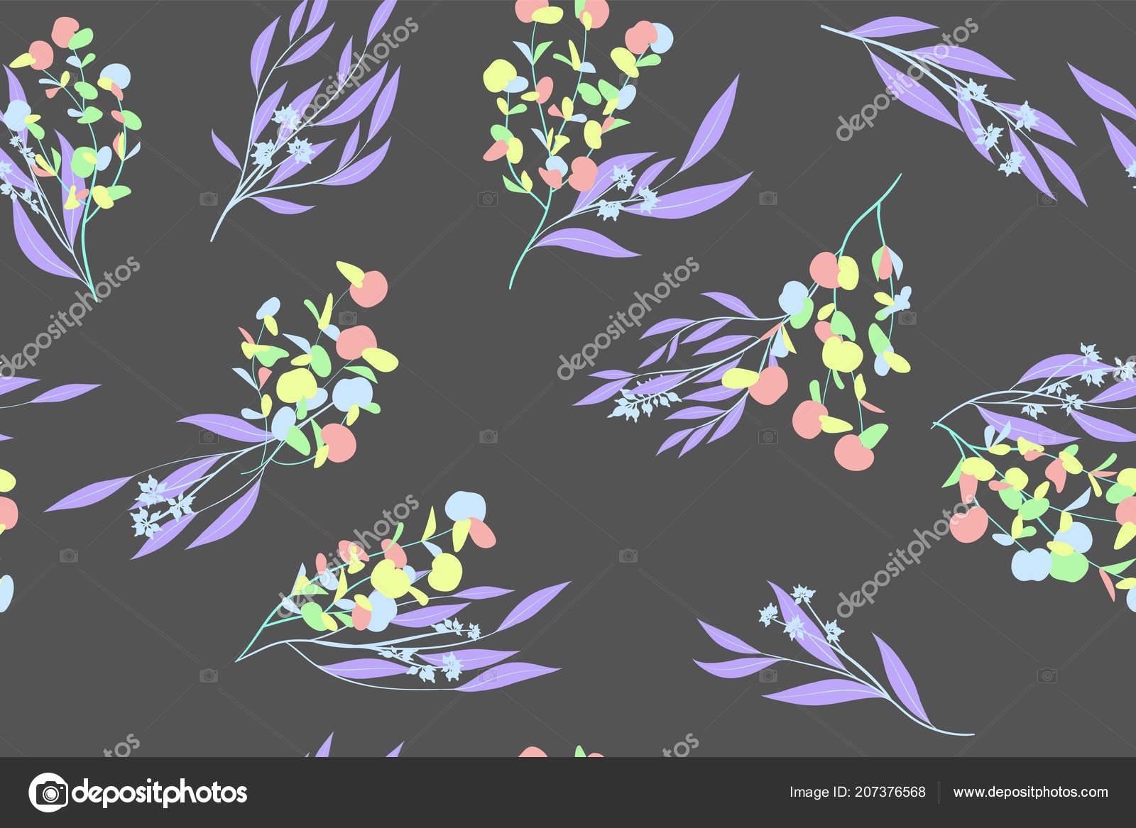 Behang Kleur Eucalyptus : Naadloze zomer patroon in pastel kleur ontwerp vector eucalyptus