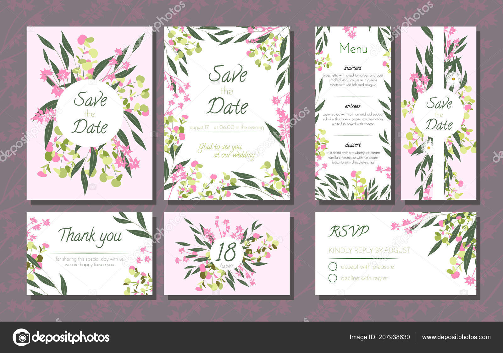 Floral Wedding Invitation with Vector Eucalyptus Leaves, Forest ...