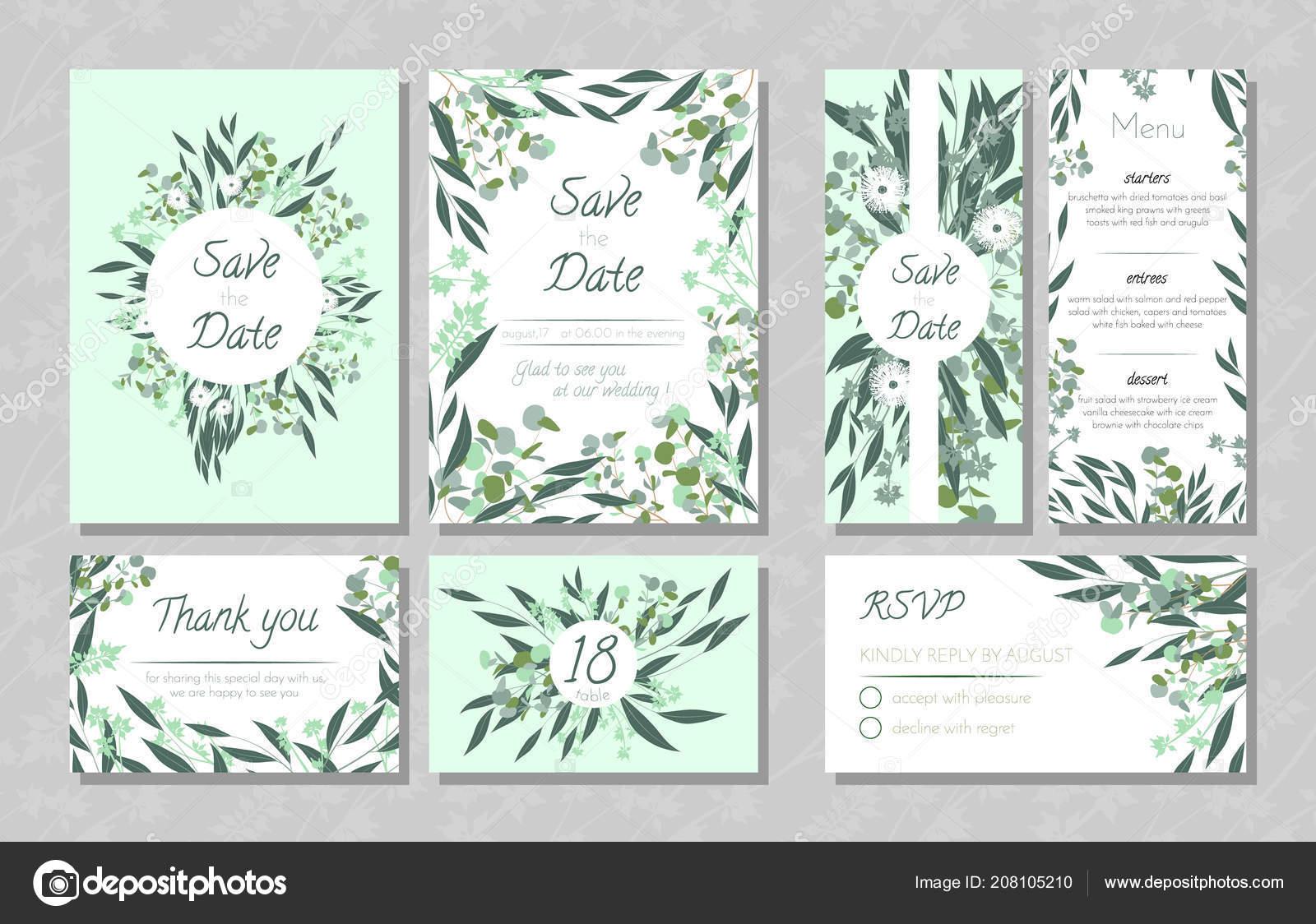 Hochzeitskarten Mit Eukalyptus Stockvektor C Ingara 208105210