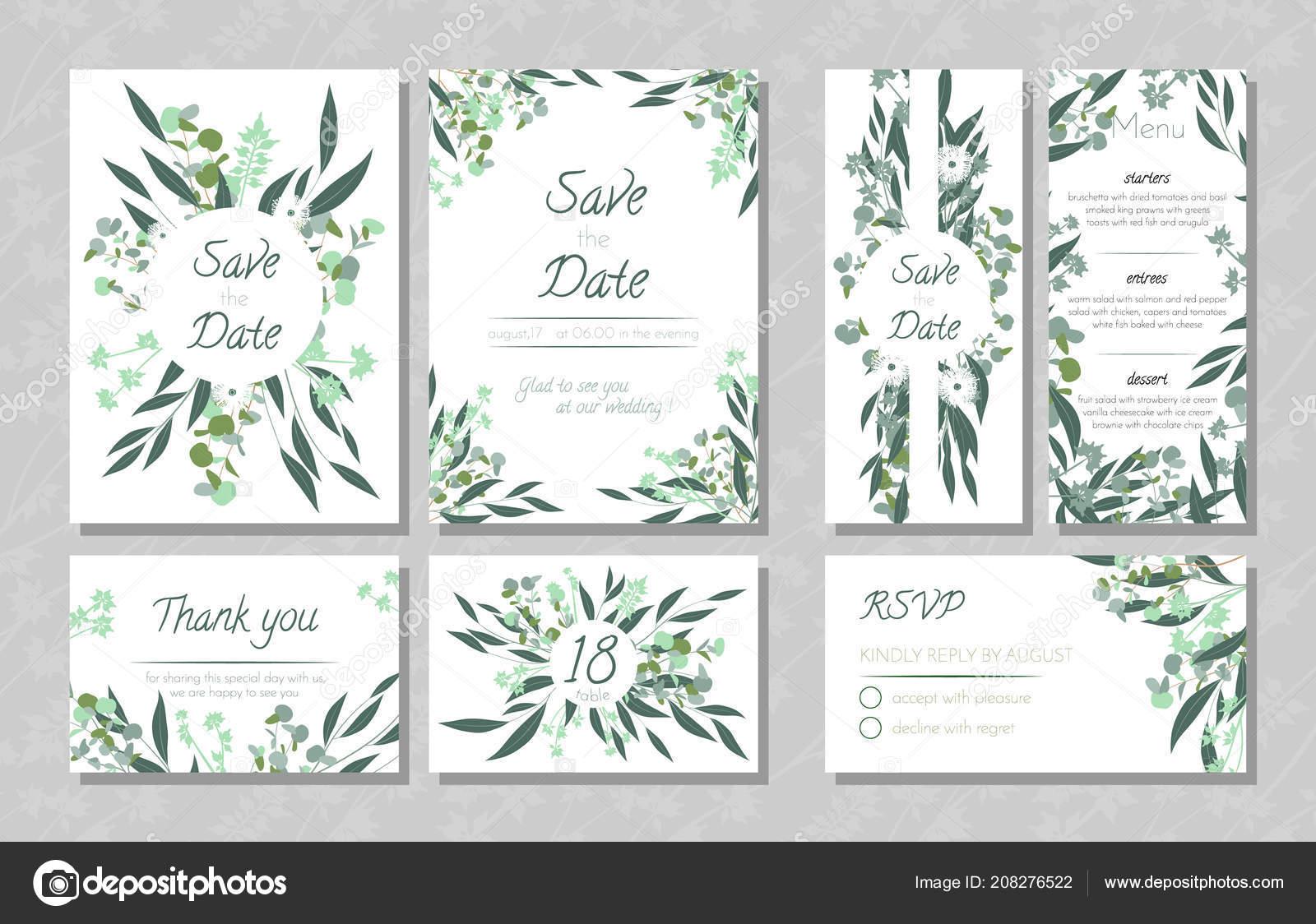 Hochzeitskarten Mit Eukalyptus Stockvektor C Ingara 208276522