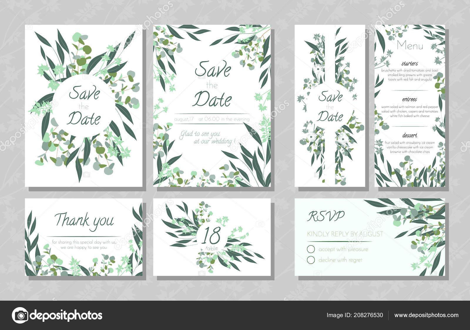 Hochzeitskarten Mit Eukalyptus Stockvektor C Ingara 208276530