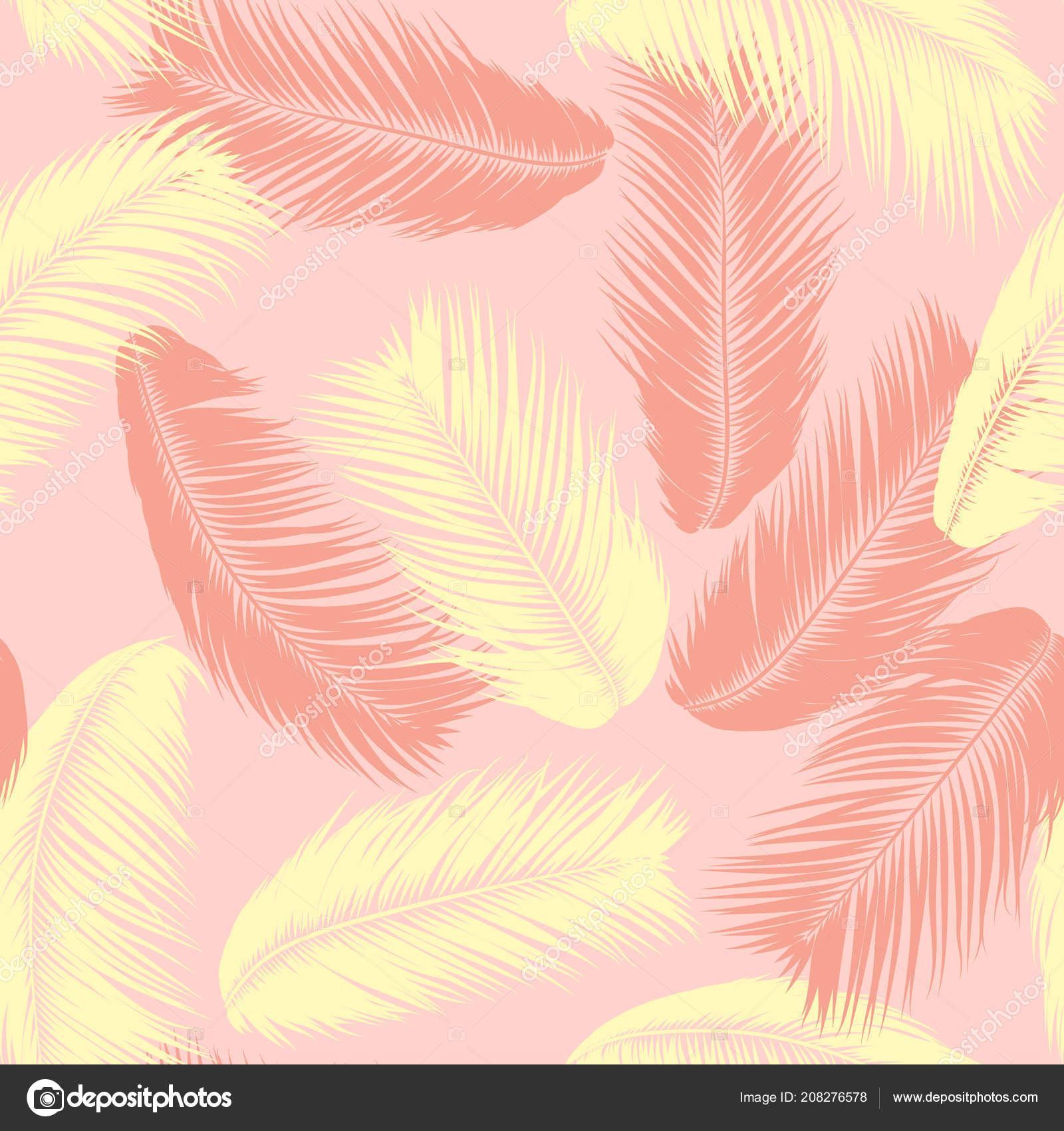 Simple Palm Leaf Drawing Tropical Palm Tree Leaves Vector Seamless Pattern Simple Silhouette Coconut Leaf Sketch Summer Floral Background Jungle Foliage Trendy Wallpaper Of Exotic Palm Tree Leaves For Textile Design