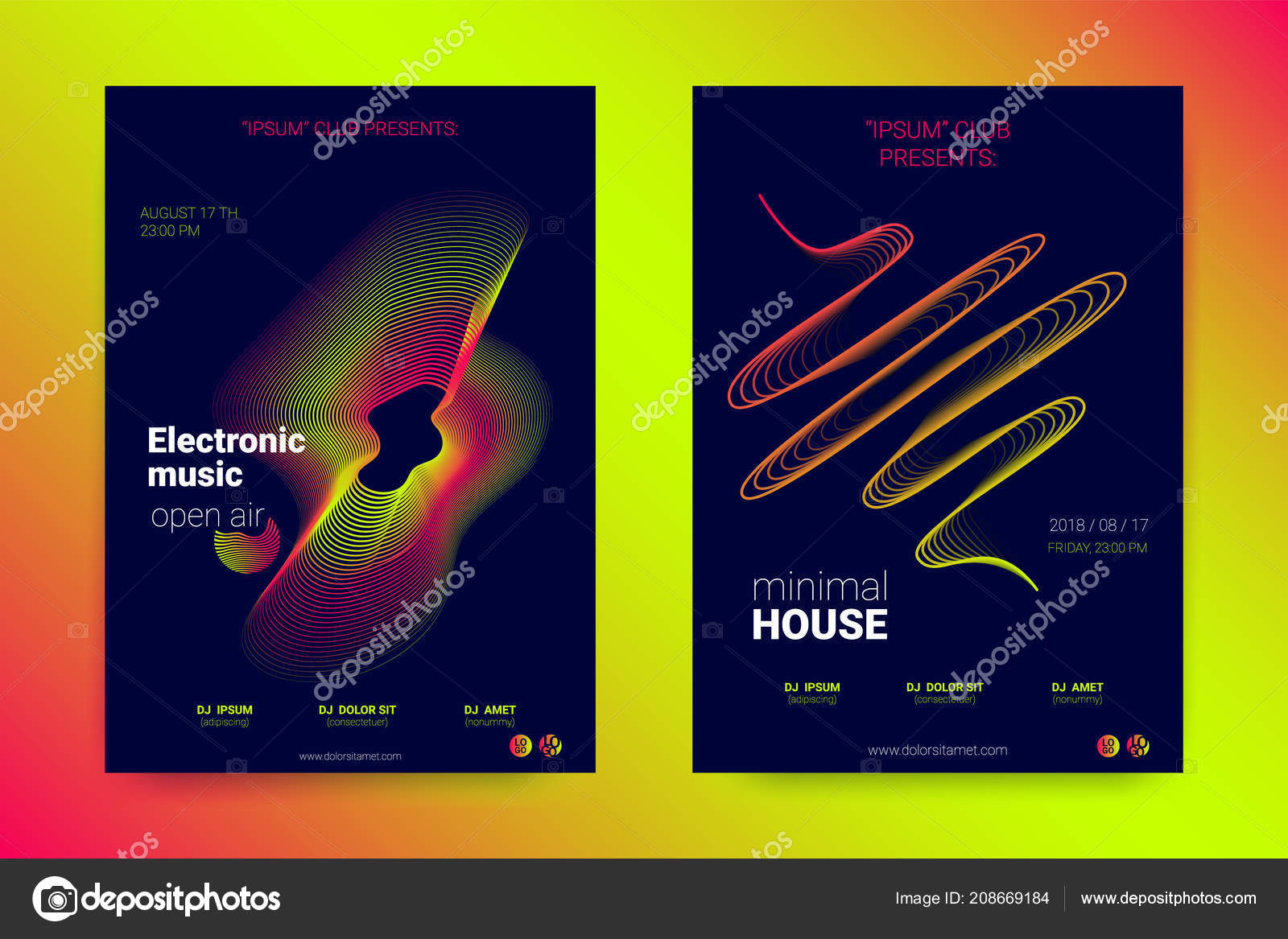 music poster set with wavy lines and rounds stock vector ingara