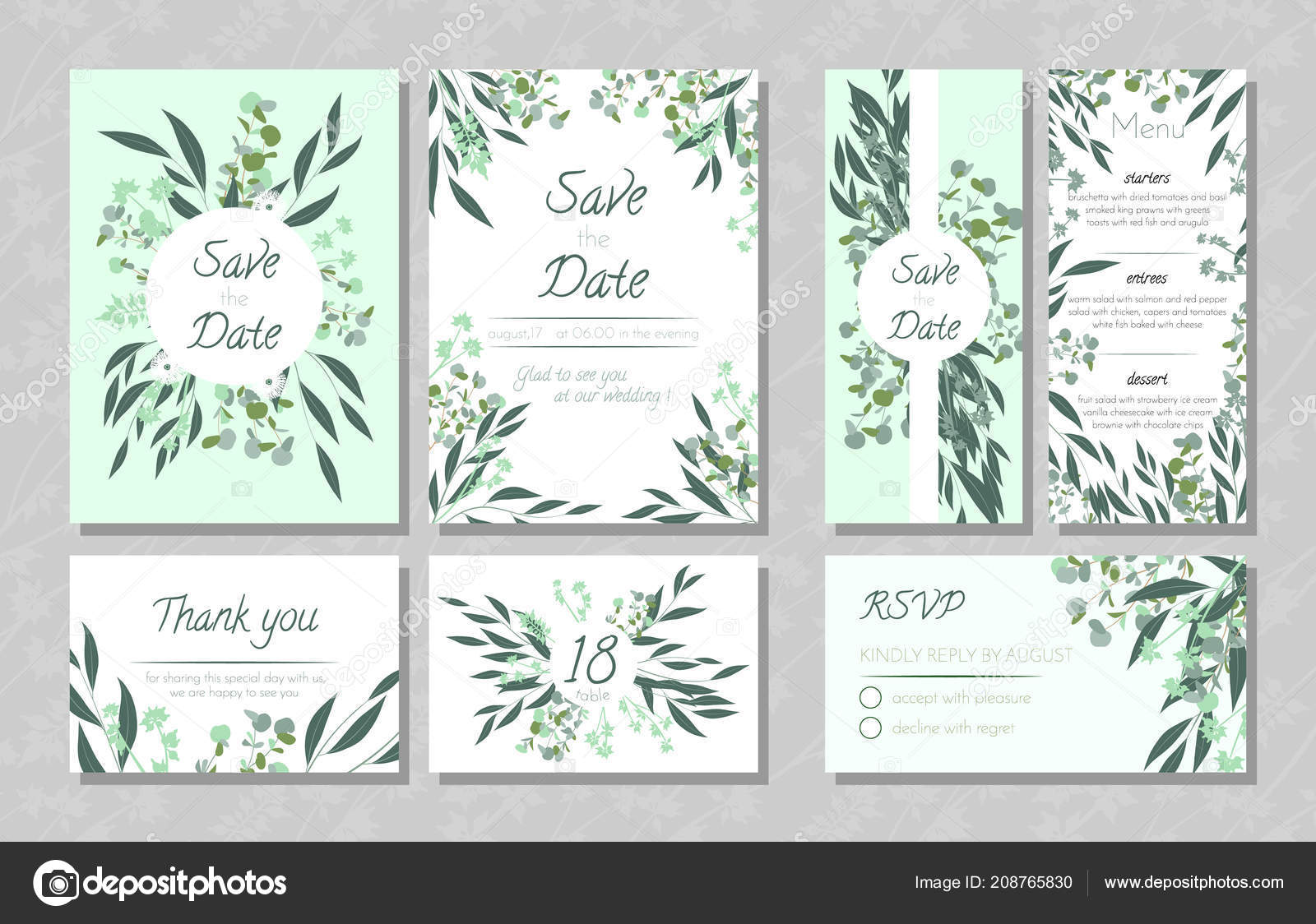 Hochzeitskarten Mit Eukalyptus Stockvektor C Ingara 208765830