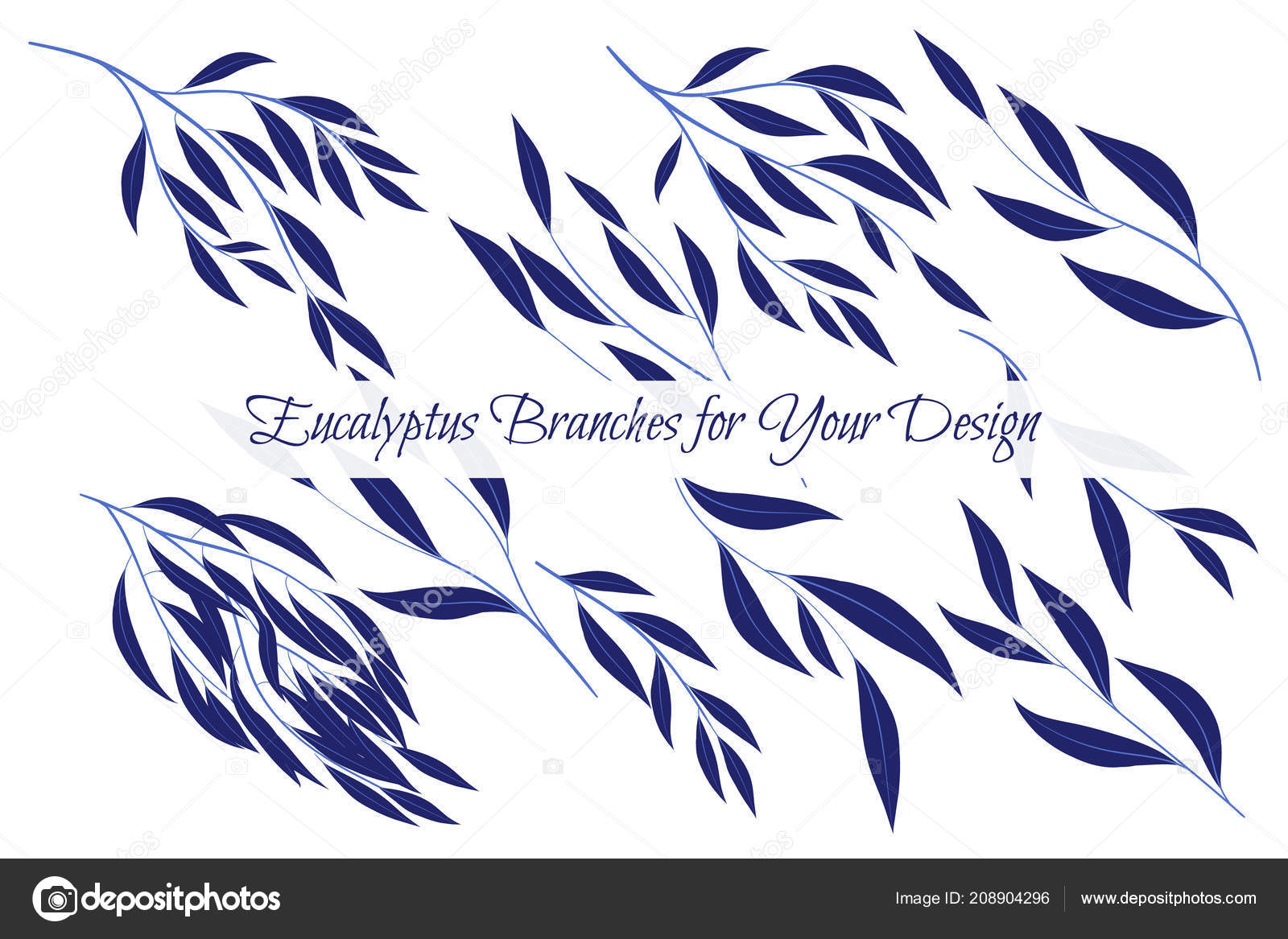 Eucalyptus vector decorative vector leaves and branches elegant decorative vector leaves and branches elegant foliage beautiful floral element for wedding design tropical plants eucalyptus vector for card invitation stopboris Image collections