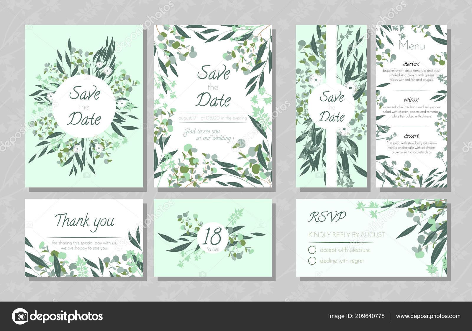 Hochzeitskarten Mit Eukalyptus Stockvektor C Ingara 209640778